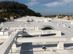 An 80,000 sq ft acrylic roof coating system in El Cerrito.