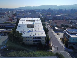 drone shot of white GE Silicon coating roof on large apartment building surrounded by trees, streets and buildings hills in background with blue sky trees in foreground