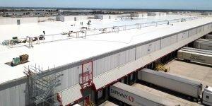 Vast white roof on Safeway distribution center in Modesto