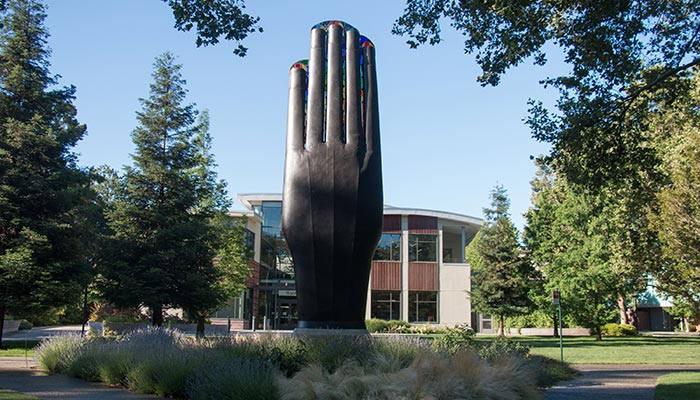 Giant hand sculpture in front of Walnut Creek City Hall