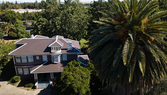 Red metal tile roof Shadelands Museum Colonial Revival house in Walnut Creek with giant palm tree in foreground.