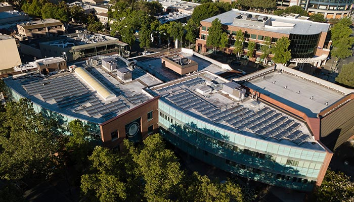 Skylight and solar panel covered roof at City Hall Walnut Creek