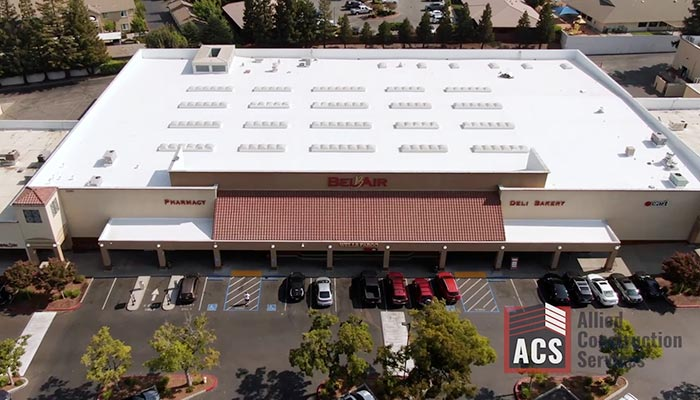 White roof on Belair Grocery Store with 16 skylights